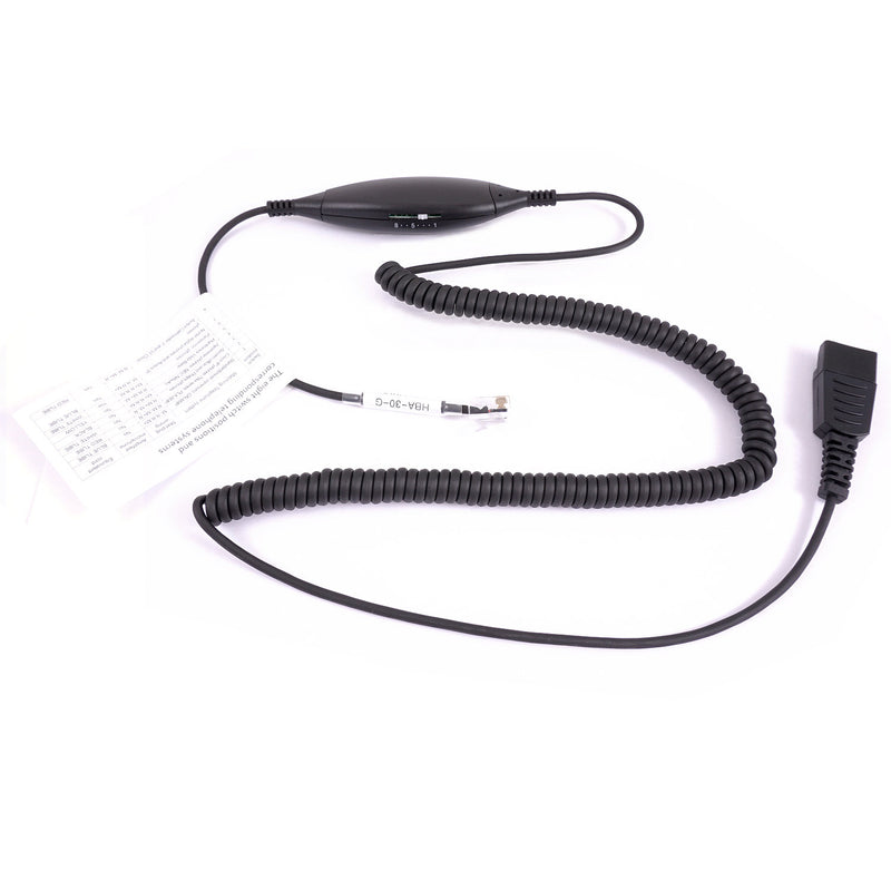 RJ9 Headset Universal - Super Light Weight Ear Loop Headset Package built in Jabra compatible QD + Universal RJ9 cord