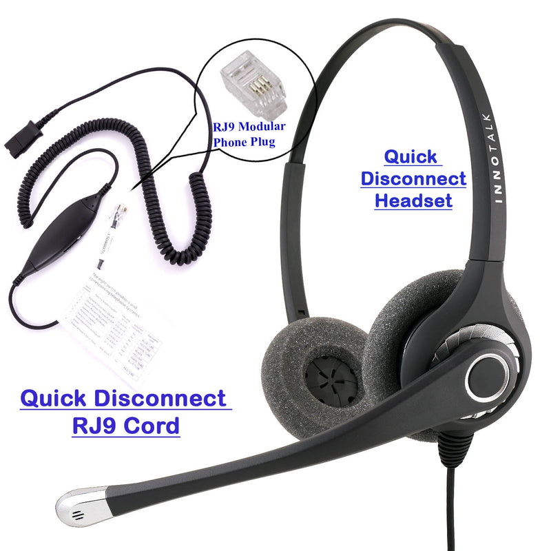RJ9 Headset Universal - Sound Forced Professional Binaural Headset + Universal Compatible RJ9 cord with Plantronics compatible QD