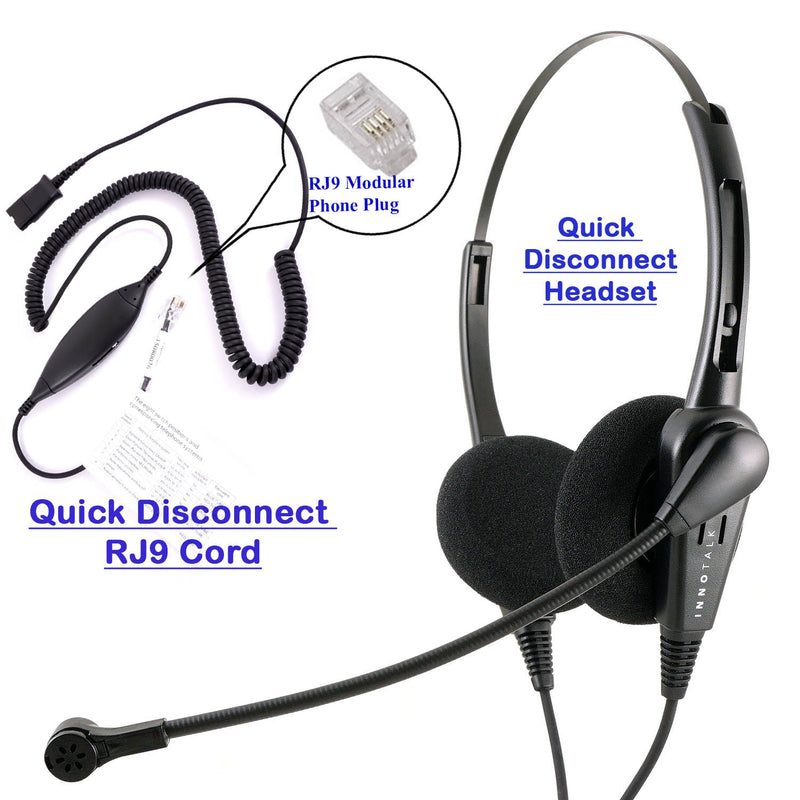 RJ9 Headset Universal - Business Grade Econimic Binaural headset + Universal compatible RJ9 cord built in Plantronics compatible QD