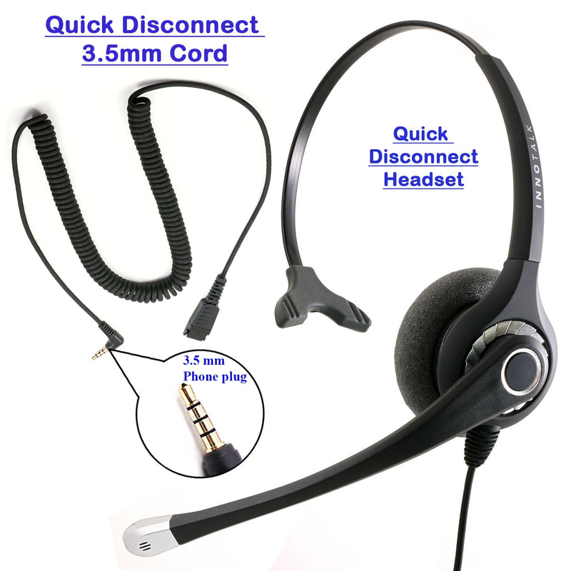 Sound Emphasis 3.5 mm Noise Cancel Professional Headset Package - Quick Disconnect  Headset + 3.5 mm Headset Adapter for Computer