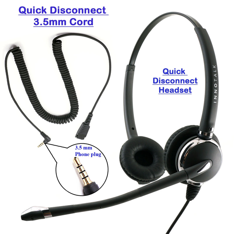 INNOTALK Deluxe Binaural Headset with a Long 3.5 mm Computer Headset Adapter Cable
