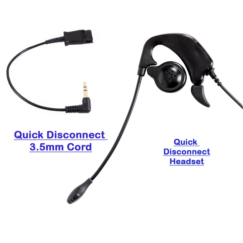 3.5 mm Ear Loop Noise Cancelling Pro Headset with a Plantronics Compatible Quick Disconnect for Smart iPhone