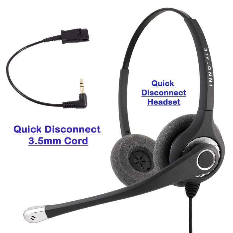INNOTALK Noise Cancelling Plantronics Quick Disconnect 3.5 mm Binaural Headset with a 3.5mm Headset adapter