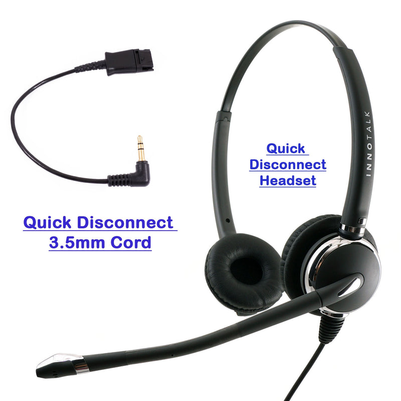 INNOTALK Deluxe Binaural Headset with Short 3.5 mm Headset Adapter Cable - Plantronics Compatible quick disconnect