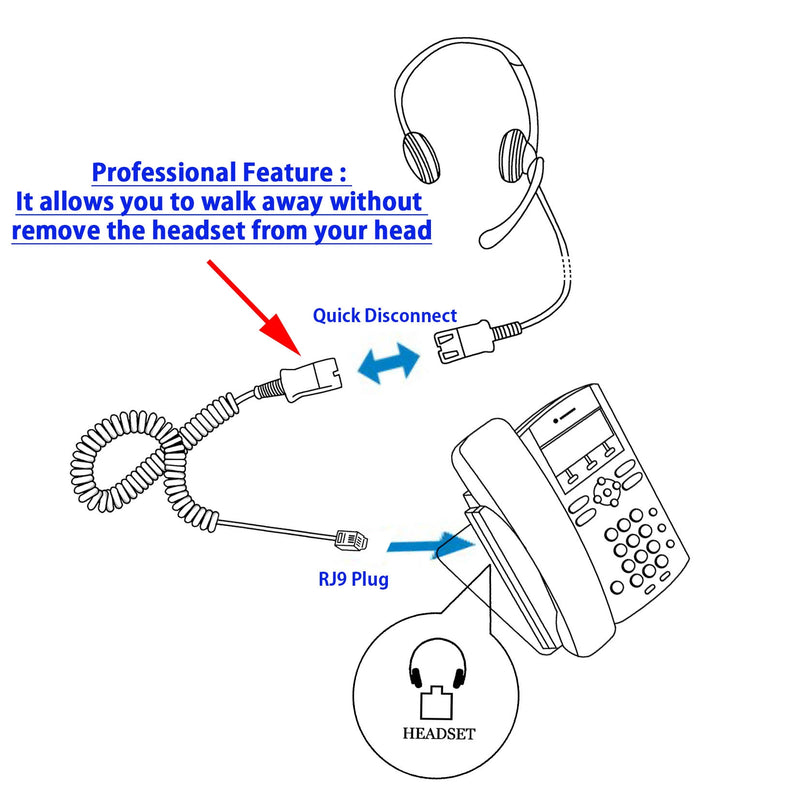 Call Center Economic Classic Headset with Plantronics Compatible QD U10P Headset Adapter Cord Package - Cost Effective Customer Service Binaural headset