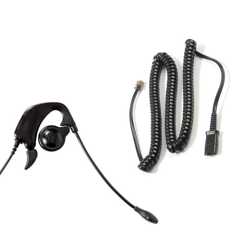 Avaya Nortel Phone M2216, M2312, M3903, M3904 Headset built in Plantronics Compatible Quick Disconnect - Ear Loop Headset + RJ9 Headset Adapter