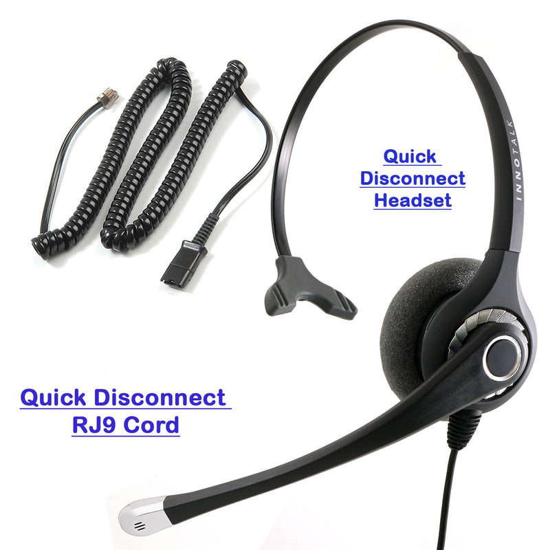 Plantronics Compatible QD U10P cord Headset - Sound Emphasis Pro Monaural Headset with RJ9 headset Adapter for Most Phone Systems.