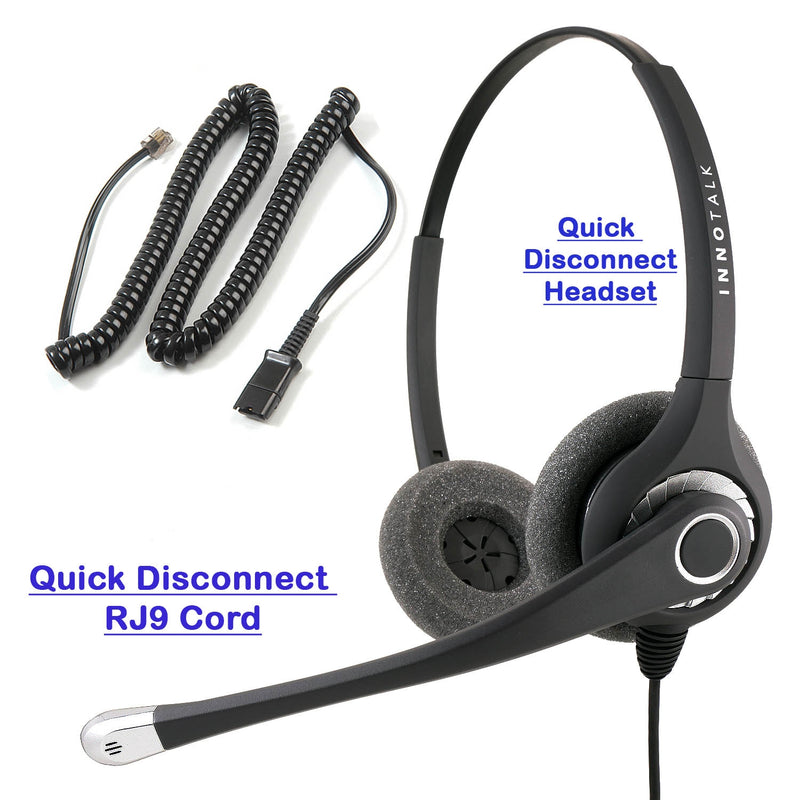 Superb Sound Professional Binaural Headset with RJ9 Headset Adapter like Plantronics u10p Headset adapter cord