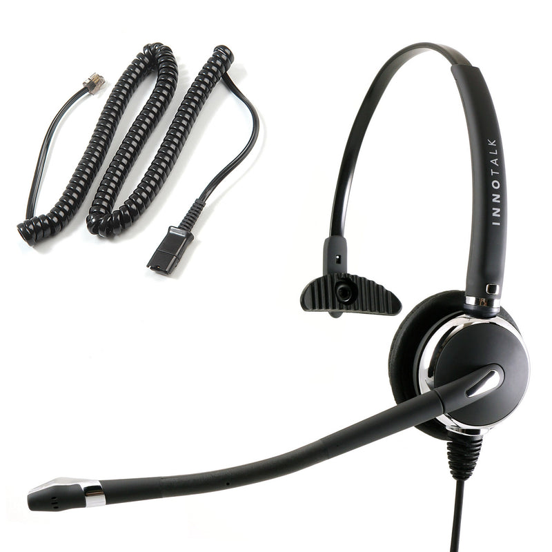Polycom SoundPoint IP , VVX Phones Monaural Headset - Plantronics compatible QD + RJ9 Polycom Phone Headset Adapter