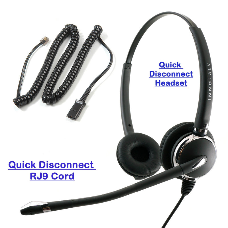 Plantronics Compatible U10P Cord Combo Luxury Pro Desk Phone Binaural Headset
