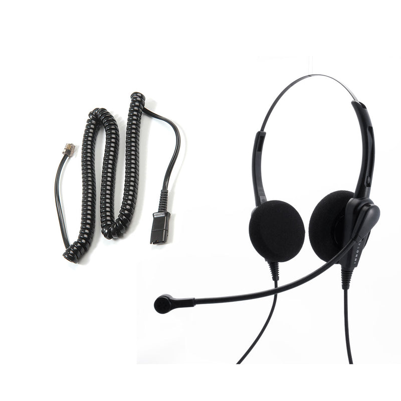 Avaya Nortel Phone 1200, 3903, 3904, 3905 Headset and Adapter Package - Cost Effective Customer Service Binaural headset + RJ9 Headset Cord