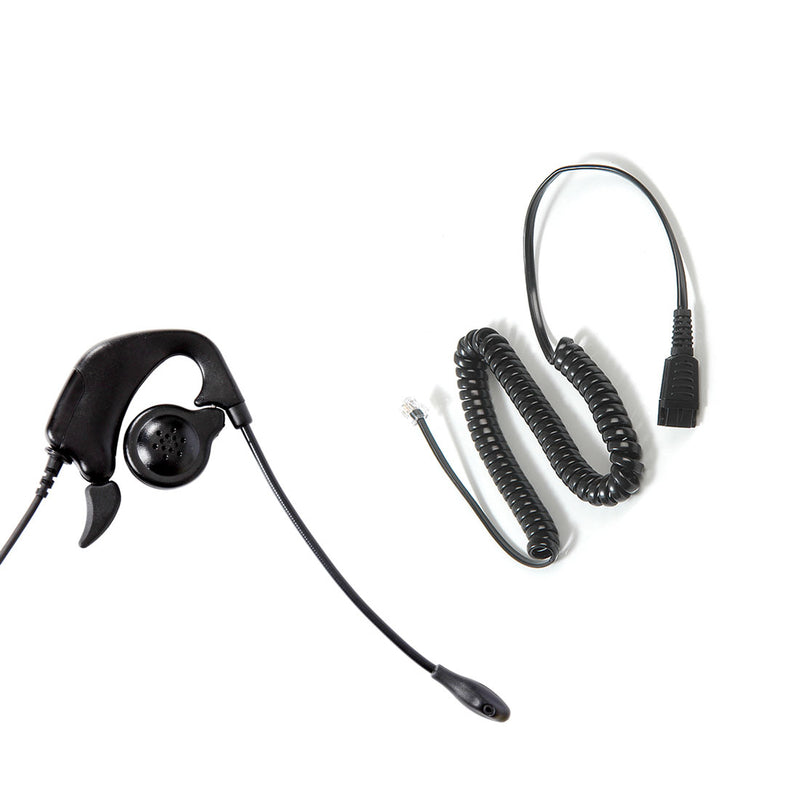 Avaya Nortel phone 1165e, 3905, M5200, M7310, M8001 headset built in Jabra Compatible Quick Disconnect - Ear Loop Headset + RJ9 Headset Adapter