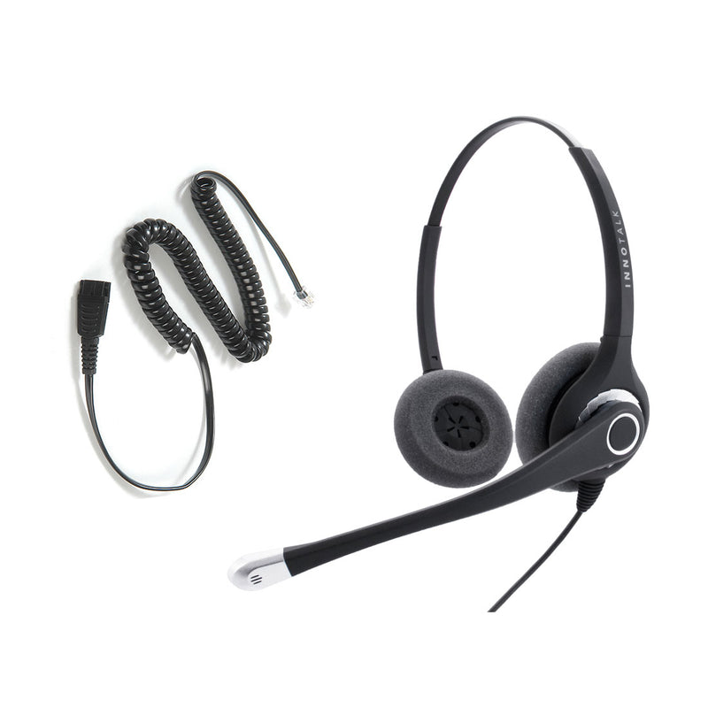 Avaya Nortel Phone 1210, M2216, M5316, NT8B20, M8003 Superb Sound Professional Binaural Headset + RJ9 Headset Adapter built in Jabra Compatible QD as Office Headset