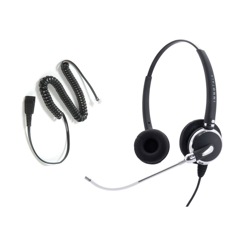 Avaya Nortel phone 1120e, 1230, M3903, M7208, M7324, T7324 Jabra Compatible QD built Voice Tube Pro Binaural Headset + RJ9 Headset Adapter as Office Headset