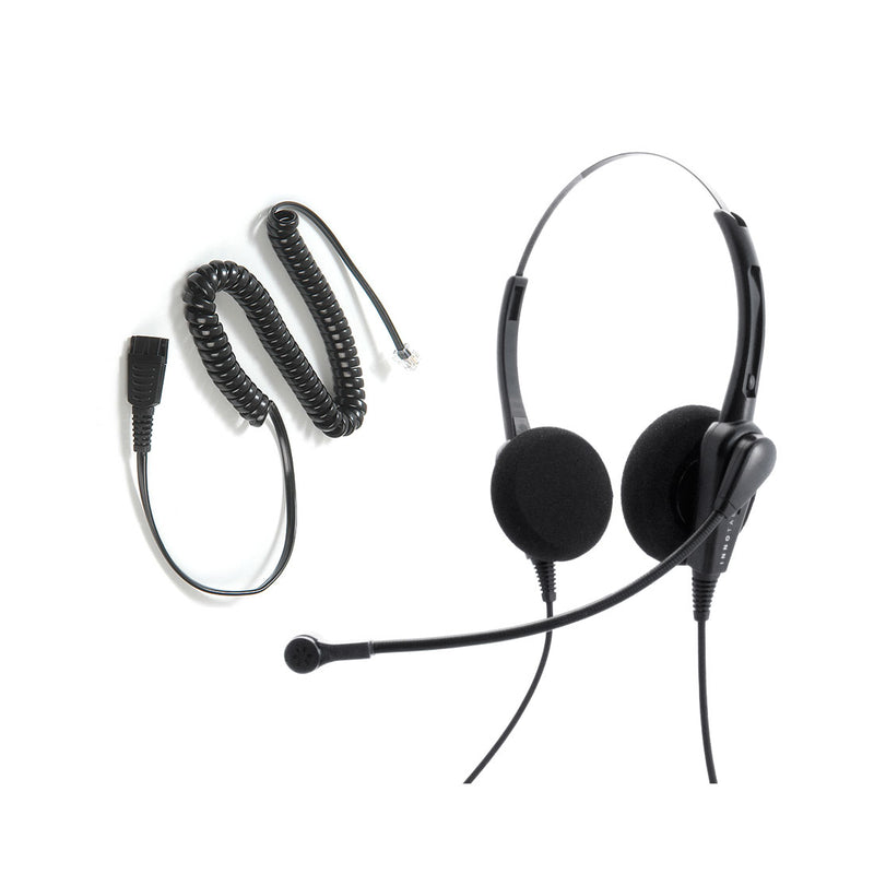 Avaya Nortel phone 1140e, 3903, M3904, NT8B30, NT8B40 Headset and Adapter Package - Cost Effective Customer Service Binaural headset + RJ9 Headset Cord