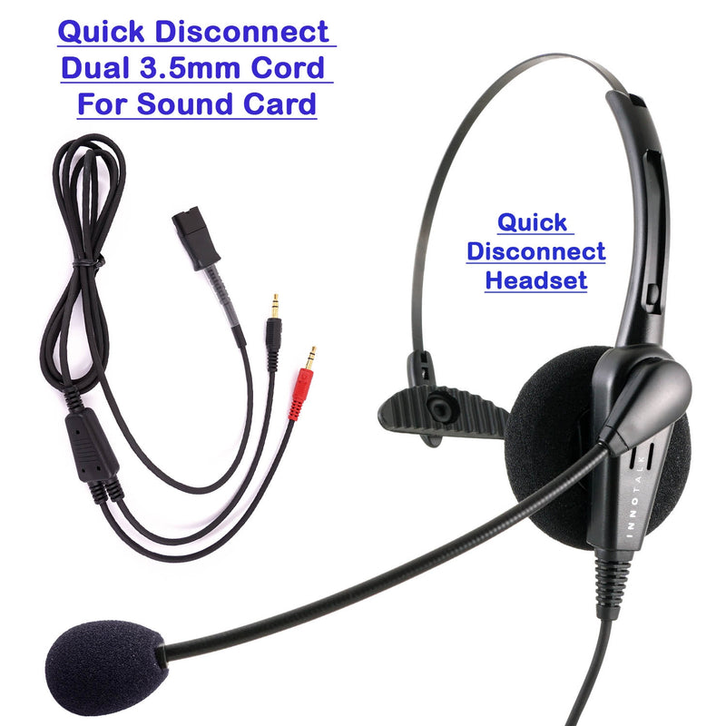 INNOTALK Economic Quick Disconnect Call Center Monaural Headset with Dual 3.5 mm Plugs for Sound Card of PC