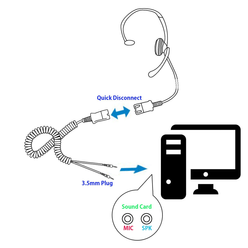 Best Sound 3.5 mm Noise Cancel Professional PC Headset Package - Quick Disconnect  Headset + 3.5 mm Dual Plugs Headset Adapter for DeskTop Computer
