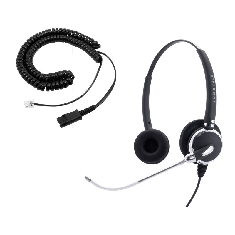 Cisco 7942, 7945, 7960 Plantronics Compatible QD built Voice Tube Pro Binaural Headset + RJ9 Headset Adapter as Office Headset