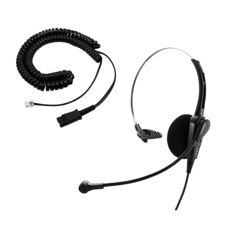 Cisco 6941, 6945, 6961, 7821 Phone Headset and Adapter - Noice Cancelling Economic Call Center Monaural headset + Cisco Headset Adapter