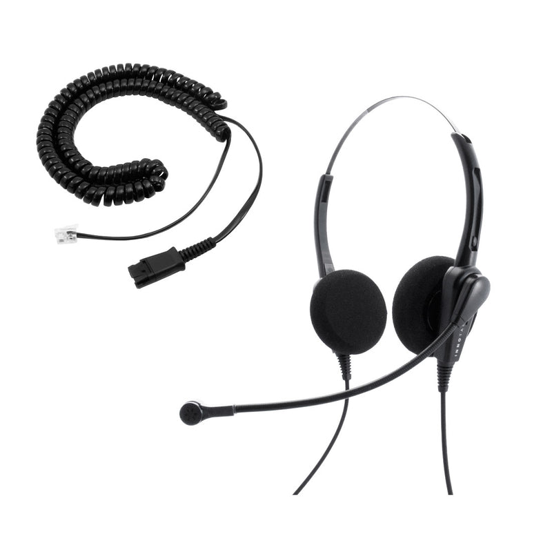 Cisco 8941, 8945, 8961 Phone Headset and Adapter Package - Cost Effective Call Center Binaural headset + Cisco Phone Cord