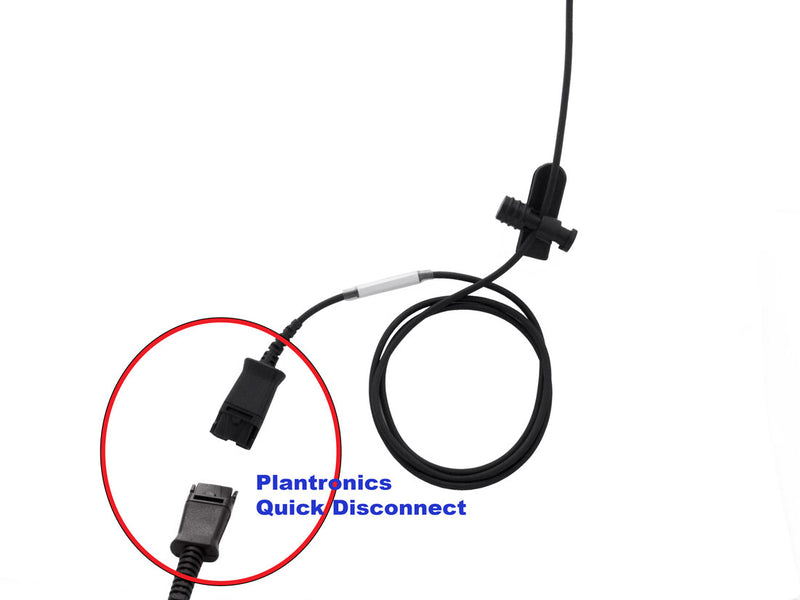 Avaya Nortel Phone M7308, M7310(NT8B20), M7316 Professional Voice Tube Microphone RJ9 Headset - Plantronics Compatible RJ9 to QD cord + Clear Voice Monaural Phone Headset