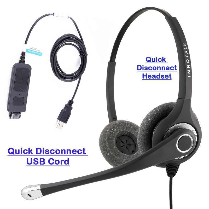 Sound focused USB Phone Headset at Office or Call center, Large and Swiveling Ear Pad, Noise cancelling Mic, Plantronics compatible QD