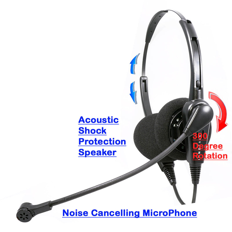 Economic Binaural headset + 8 inch length 2.5 mm headset adapter built in Plantronics Compatible QD