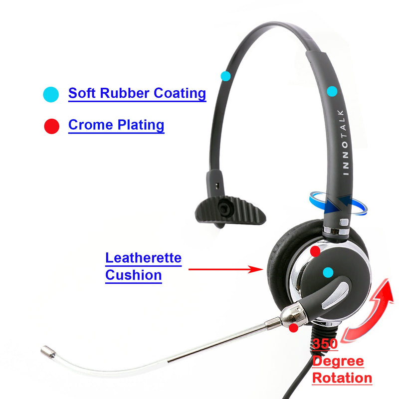 Phone headset - Replaceable Voice Tube Mic Professional Monaural Headset for Call Center as Office Headset - Plantronics Compatible QD