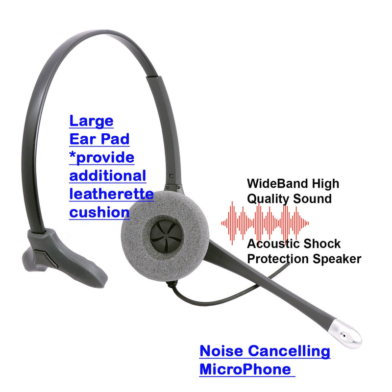 Avaya 4621, 4622, 4624, 4625, 4630 Phone Headset - Plantronics compatible QD Supersonic Monaural Headset