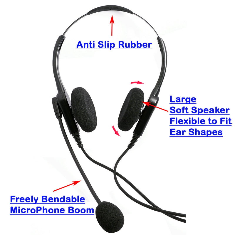 Economic Professional USB Computer Headset, Binaural PC headset with Plug N Play USB Headset Adapter