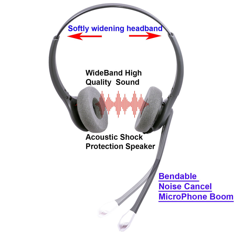 Avaya 5410, 5420, 5610, 5620, 5621,5625 Phone Headset - Plantronics compatible QD - Super Sound Binaural Headset + Avaya cord