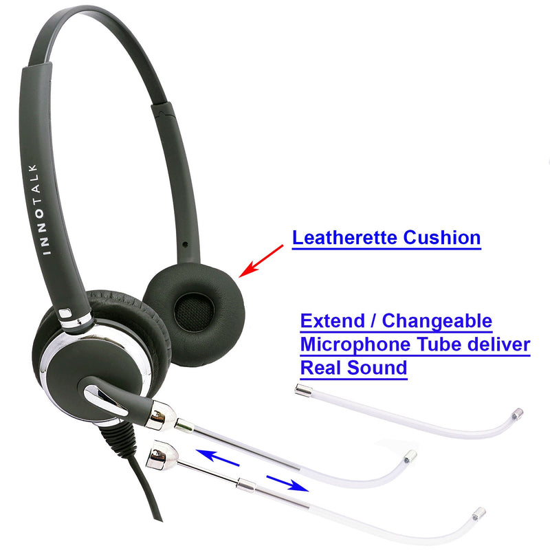 Headset Amplifier with Plantronics Compatible QD Voice Tube Pro Binaural Headset at Call Center for Most Desk Phone