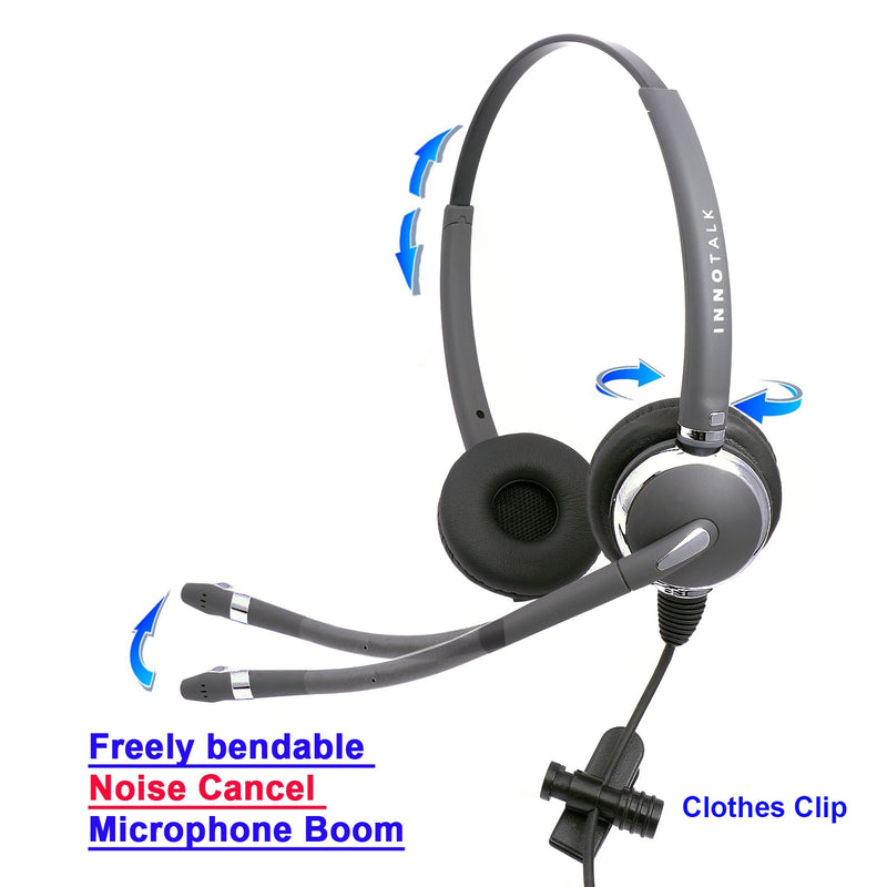 Luxury Pro Swiveling Receiver Binaural Phone Headset with Headset Amplifier for Avaya Cisco Polycom ATT and Most phone