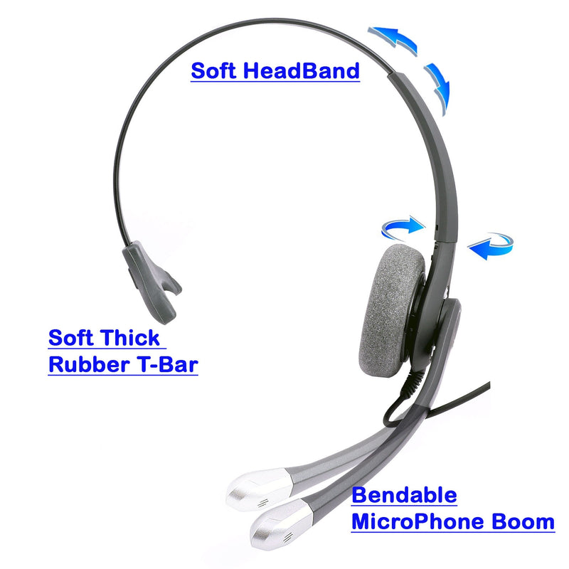 Plantronics Compatible Best Sound Monaural Headset + 2.5 mm Headset Jack Combo for Desk Phone as Office Headset