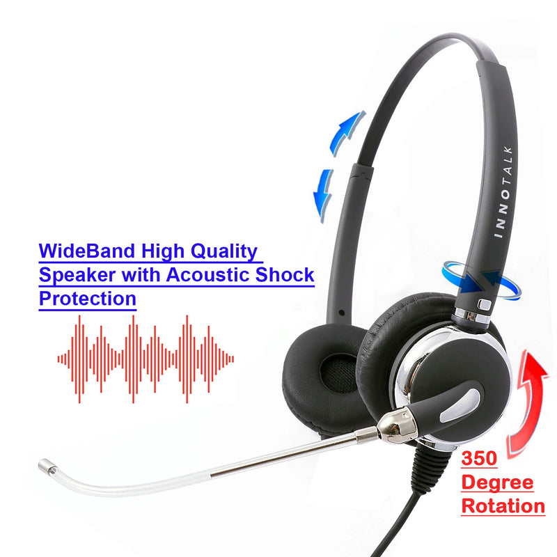Voice Tube RJ9 Headset Universal - Replaceable Mic Tube Binaural Headset + Universal Compatible RJ9 Headset Cord