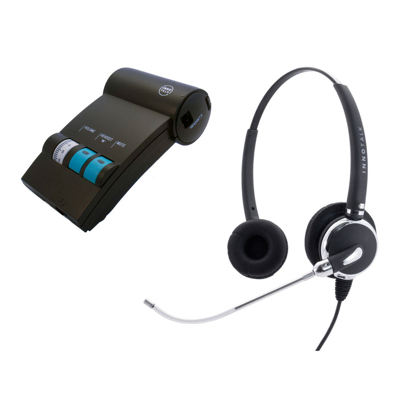 Avaya Lucent AT&T Partner phone MLS-12, MLS-18D, MLS-34D Jabra Compatible QD built Voice Tube Pro Binaural Headset + Headset Amplifier as Office Headset