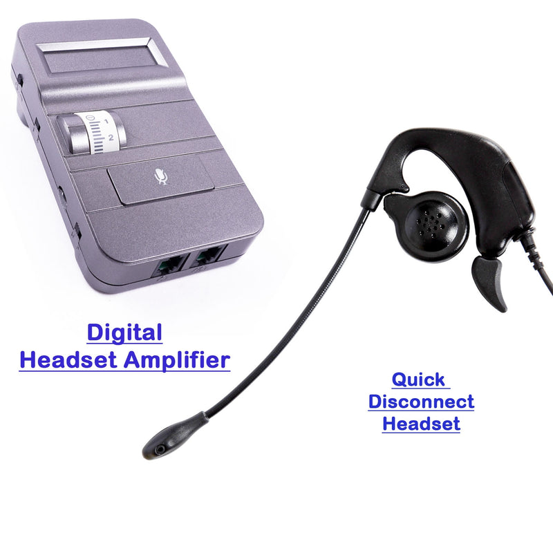 Over the Ear Phone Headset with Digital Headset Amplifier for Most Desk Phone, Avaya Cisco ATT