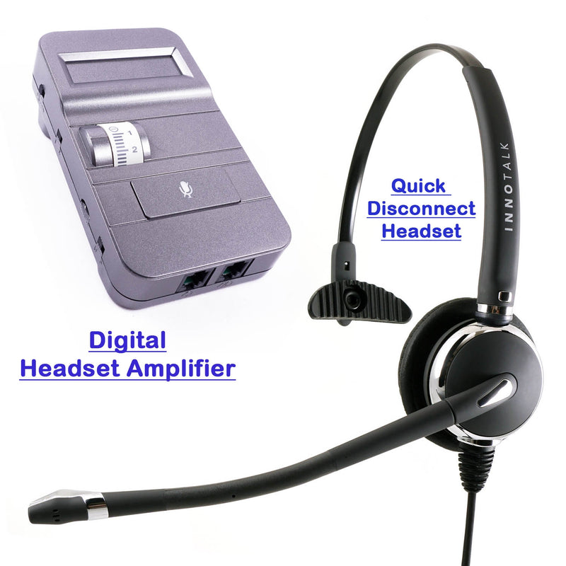 Best Professional Monaural Phone Headset with Digital Headset Amplifer for Most Desk Phone
