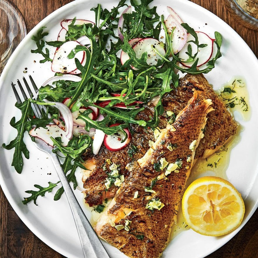 Grilled Flatfish with Lemon Herb Butter