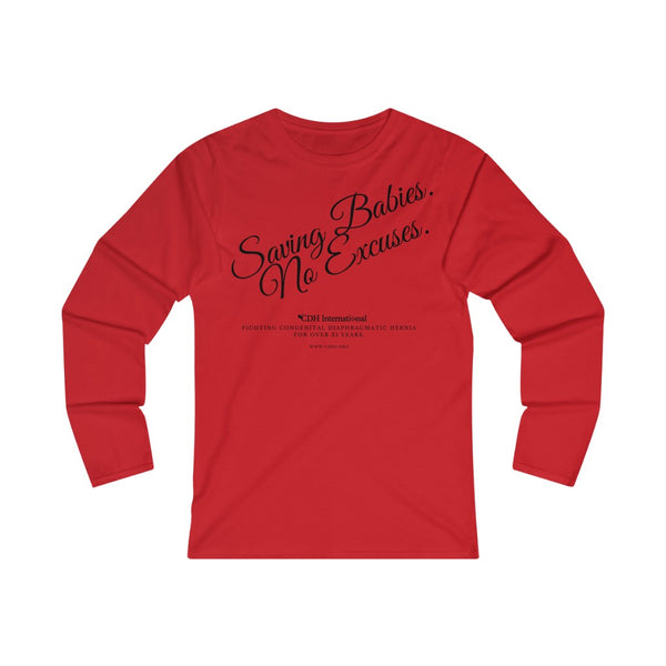 Saving Babies No Excuses - Women's Fitted Long Sleeve Tee