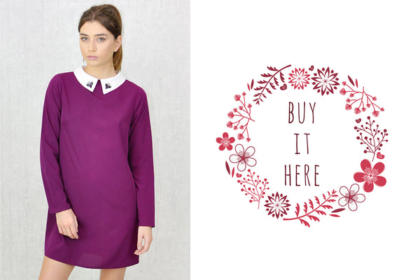 Alexa-Embellished-Contrast-Collar-Shift-Dress-Purple