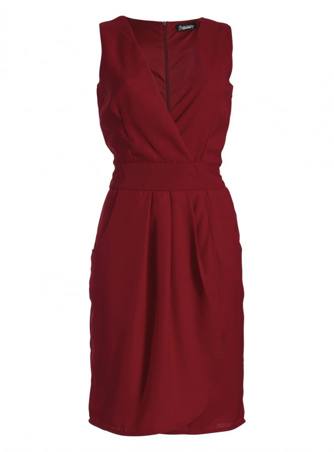 Lizzie Wrap Tie-Belted Dress Burgundy