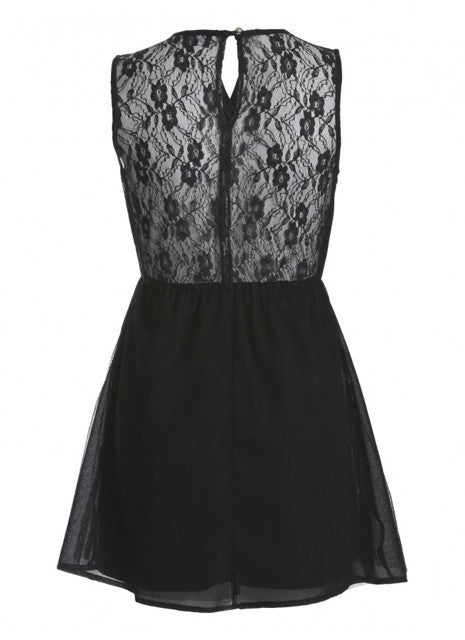 Orla Sleeveless Lace Back Wrap Front Skater Dress Black