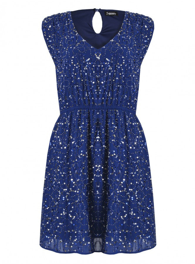 Starlight Ruche Shoulder Sequin Sparkle Dress Blue