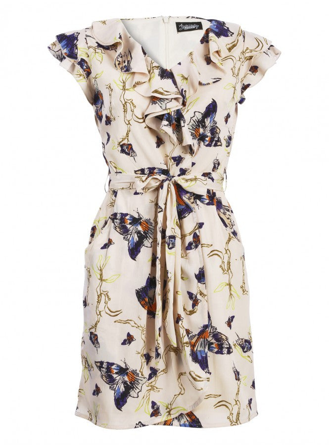 Finola Ruffle Wrap Belted Dress Nude Print