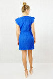 Finola Lace Ruffle Wrap Belted Dress Blue