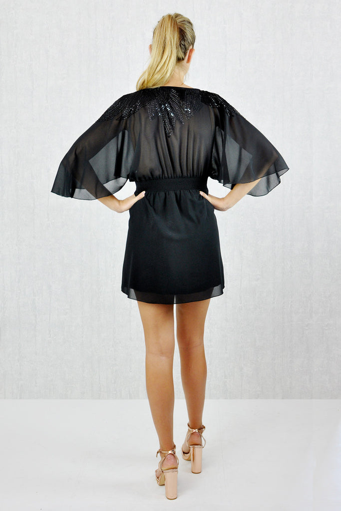 Cheryl Embellished Kimono Sleeve Dress Black
