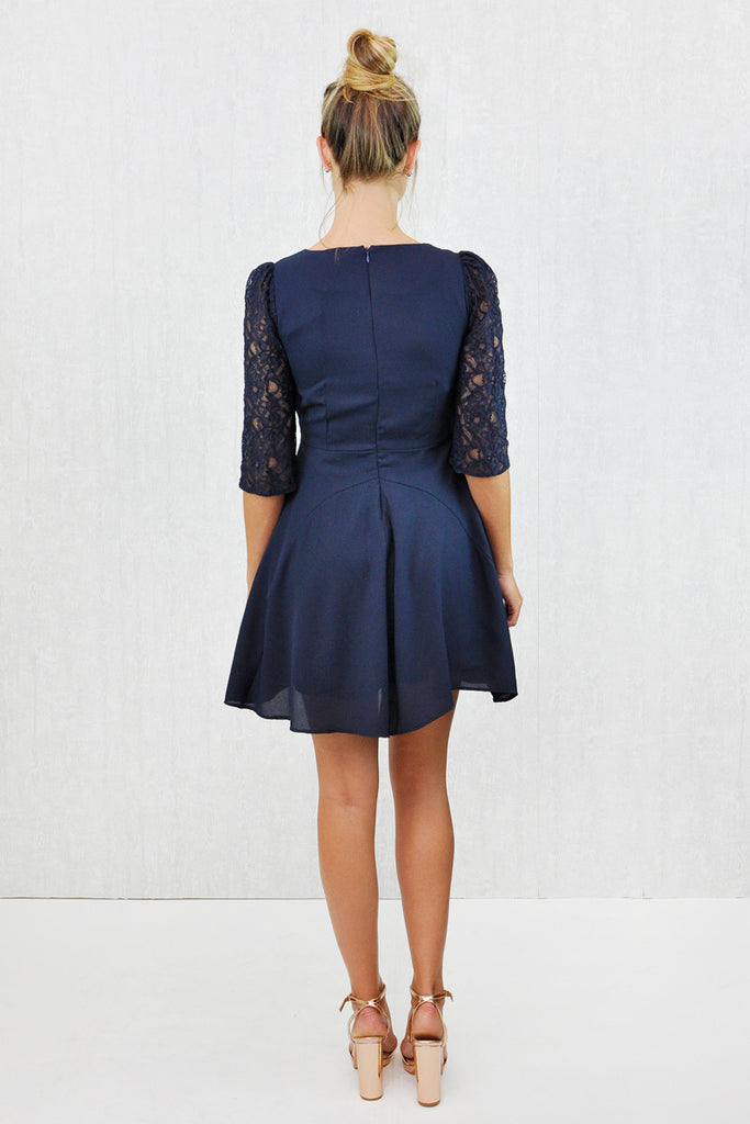 Polly Lace Arm Skater Dress Navy