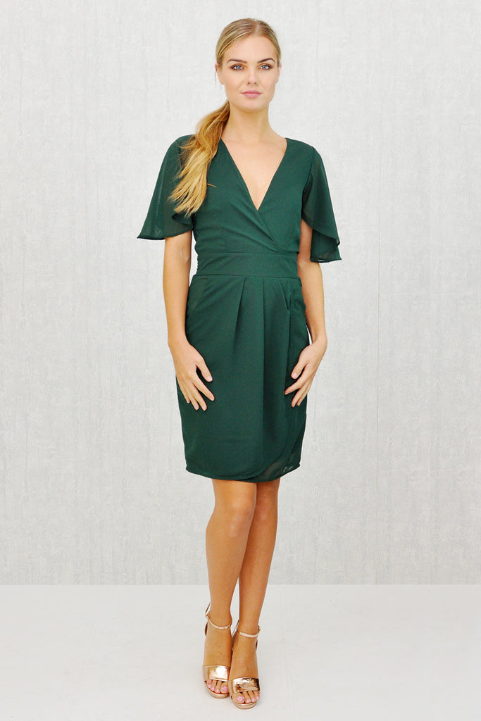 Lizzie Angel Sleeve Tie Belt Wrap Dress Bottle Green