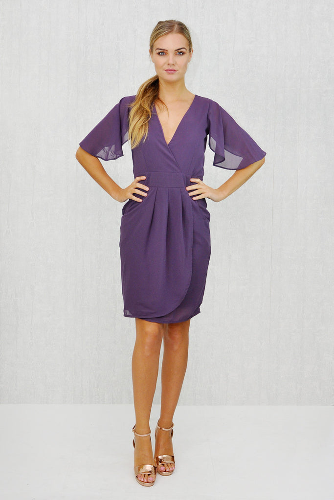 Lizzie Angel Sleeve Tie Belt Wrap Dress Purple